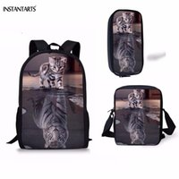 0c5b68ec00d4 INSTANTARTS Funny Cat Reflection Tiger Print Boys Girls School Bags 3PCS  Orthopedic Schoolbags for Teen Casual Children Backpack