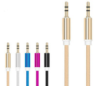 Wholesale Audio Connection Cables - Nylon braided audio cable metal head 3.5mm Universal AUX cable Colorful male to male connection cables
