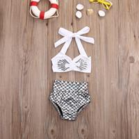 qualität bikinis umsatz großhandel-Heißer Verkauf Prinzessin Baby Mädchen kleine Meerjungfrau Bikini 2 teile / satz Bademode Badeanzug Badeanzug Top Qualität