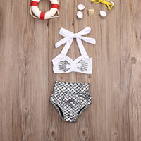 Wholesale Little Mermaid Top - Hot sale princess baby girls little mermaid bikini 2pcs set swimwear swimsuit bathing suit top quality