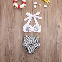 vendas de biquinis de qualidade venda por atacado-Venda quente princesa meninas do bebê pequeno sereia biquíni 2 pçs / set swimwear maiô maiô top quality
