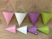 Wholesale glazed metal for sale - Group buy Wall Hanging Flower Pot Cone Shape Fashion Metal Iron Planters For Home Balcony Decoration Mini Garden Pots Many Colors zx ZZ