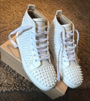 Wholesale Cheap Womens High Tops - Cheap red bottom sneakers Luxury mens womens matte leather with Spike Studded high top sneakers,designer causal Brands shoes 36-46