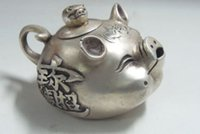 Wholesale Collectible Teapots - Decorated Old Handwork tibet silver collectable old style lifelike pig teapot