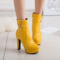 botas de oficina de mujer al por mayor-S.Romance 2018 Women Boots Plus Size 34-43 High Square Tacones Botines Office Lady Bombas Otoño Zapatos Mujer Negro Amarillo SB015