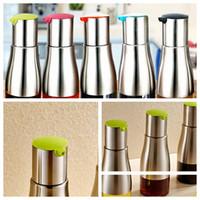 Wholesale Oil Dispenser Wholesaler - stainless steel oil bottle sauce pot of vinegar condiment bottle BBQ Tools Oil Sprayer Dispenser Cooking Roast Oil Bottle Tools KKA4036
