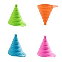 Wholesale eco styling gel - Portable Silicone Foldable Funnel Silicone Gel Foldable Collapsible Style Funnel Hopper Water Filler Tool Kitchen Accessories Gadget