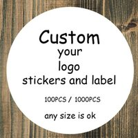 Wholesale custom sticker labels logo - 100PCS custom stickers Wedding Stickers printed LOGO transparent clear adhesive round label Gift Tags Party Decorations paper