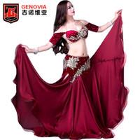 tenues professionnelles femmes achat en gros de-Femmes Professional Danse du ventre Costumes Dames Elegance Danses Orientales Bellydance Perlée Top Bra Longue Jupe Costume