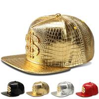 Wholesale black hat base - 2018 Brand Base High Quality Base Ball Cap Women Mens Hats Shiny USD $ Snapback Women Casquette Cap Adjustable Hip-hop Caps Black Gold