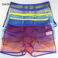 boxers de malla para hombre al por mayor-5PC Sexy Men Underwear Boxers Hombres Transparentes de Malla Transpirable Mesh Hollow Out See Through Lencería Sexy Boxeadores Cortos