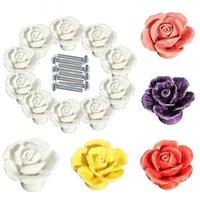 flores de rosas cerâmicas venda por atacado-Rose Vintage Maçanetas Flor europeus cerâmicos puxador de gaveta para armários de cozinha 10pcs / lot 5 Cores