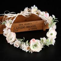 diadema de guirnalda de flores blancas al por mayor-Nueva Moda Hairwear Señoras Flor Blanca Hairbands Boda Guirnalda Del Pelo Floral Mujeres Diadema Garland Joyería Del Pelo LB S919