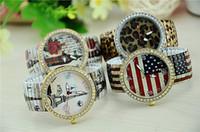 rhinestone eiffel tower achat en gros de-HOT Femmes mode montres montre élastique bande Monroe drapeau américain Eiffel Tower impressions montre pour femmes bracelet féminin avec strass