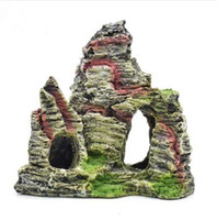 decoraciones del acuario cueva al por mayor-EZLIFE Artificial Montaña Acuario Adornos Decoraciones Resina Falsa Montaña Cueva de Peces de Piedra Decoración Del Acuario XP0430