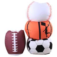 freies verschiffen bohnenbeutel groihandel-Basketball Lagerung Sitzsack Fußball Baseball 18 zoll Stofftier Plüsch Tasche Kleidung Wäsche Speicherorganisator Kostenloser versand