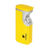zigarrenfeuerzeuge gelb großhandel-Neue Ankunft COHIBA Grau Gold Gelb Finish Touch Feuerzeug Induktion 3 Torch Jet Flame Zigarettenanzünder Mit Geschenk Box Punch