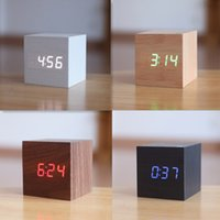 lace shoelaces wholesale-Cube Wooden LED Alarm Clock LED Display Electronic Desktop Digital Table Clocks Wooden Digital Alarm Clock USB/AAA Sound Control LED display