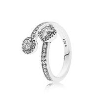 conjuntos de joyas de piedra blanca al por mayor-FAHMI 100% Plata de Ley 925 1: 1 Encanto Auténtico Original 191031CZ Temperamento Moda Glamour Anillo Retro Boda Mujer Joyería
