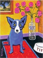 Wholesale canvas prints blue wall painting resale online - ABSOLUT VODKA RODRIGUE BLUE DOG Real High Quality Hand painted Wall Art Oil painting On Canvas Home Decor Multi sizes Frame Option a125