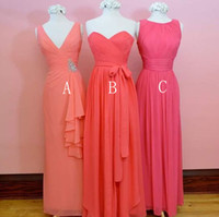 Wholesale strapless chiffon bridesmaid dress bead for sale - Newest Chiffon Designer Bridesmaid Dresses Floor Length V Neck Sweetheart Strapless Maid of Honor Gown Beach Country Wedding Guest Dress