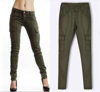 pantalon cargo vert armée femme achat en gros de-Pantalon cargo femme militaire multi-poche taille basse Slim Stretch Army Green Pencil Pantalon Casual Sportswear Joggers Pantalon