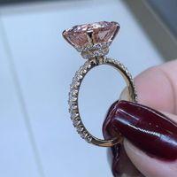 diamants super or achat en gros de-Bague en or rose plaqué de luxe de luxe zircon super flash plein diamant femmes élégantes bague bijoux