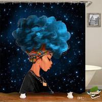 indien kunst großhandel-3D Indien Mädchen Afrika Frau Duschvorhang Haken Kunst Druck Hause Schmücken Wasser Schimmel Beweis Polyester Faser Bad Zubehör 30sz4 bb