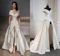 Wholesale petite pants for sale - Elegant Off The Shoulder Evening Dresses Satin Floor Length Formal Prom Jumpsuits With Pants and Pockets Women Wear