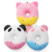 ingrosso portachiavi kawaii-Squishy 11cm Kawaii Gift Soft Panda Cat Donut Jumbo-Squishy giocattolo Carino Cinghie di telefono Slow Rising Squishies Ciambella giocattolo Portachiavi XB