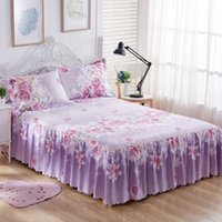 Wholesale purple rose bedspread resale online - 3PCS Bedding Sets King Queen Bed skirt Sheet set Flowers linens Bed Maress Cover Bedspread Bedding Skirt Pillowcase