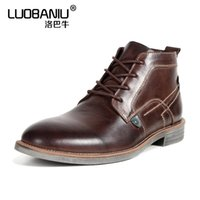Wholesale mens wedding boots - US7-11 Mens Round Toe Genuine Leather Martin Boots Business Man Formal Dress Oxfords Casual Ankle Boots Winter Wedding Shoes