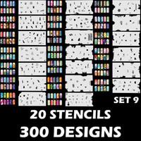 airbrush nagel schablone designs großhandel-Großhandel benutzerdefinierte Airbrush Nail Art Schablone Set 9 mit 20 Schablone Template Design Sheets (300 Designs)