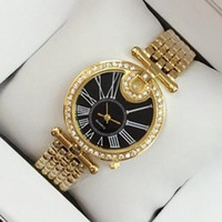 Wholesale christmas golden - 2017 Top fashion brand golden watch with diamond women sexy rose gold silver luxury bracelet wristwatch free shipping party watches hot sale