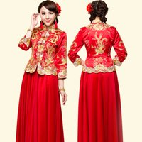 Wholesale evening dresses chinese style - Dragon gown Traditional bride wedding dress chinese style costume Phoenix cheongsam evening show clothing Red Chinese Wedding Robe