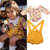 Wholesale loose suspenders girl - Newborn baby girl flower romper+overalls 2-piece outfit Spring kids girls clothing boutique clothes wholesale factory products