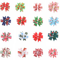 Wholesale babies pink hair for sale - Group buy Baby Girls hairpins dovetail Xmas Barrettes Bow with clip children hair accessories kids Santa Claus print Hair clips Favor GGA725