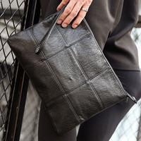 evrak çantası debriyajı toptan satış-Erkekler En Kaliteli PU Deri Laice paern Messenger Omuz Paketi Evrak Çantası Debriyaj Çanta