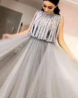 Wholesale prom dresses stores for sale - Group buy Unique High Neck Evening Dresses Beaded Sequins Sleeveless Long Prom Dresses Dubai Arabic Formal Gowns Women Party Dress Online Store