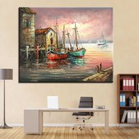 Wholesale Canvas Painting Numbers - DIY Oil Painting By Numbers Kits Coloring Drawing Canvas Sunset Seascape Fishing Boats Pictures Home Decor Handpainted Wall Art