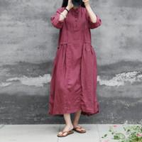 traje chino de la vendimia al por mayor-Camisa de mujer Soporte Stand de siete mangas Ramie Vintage Robes 2018 Otoño Nuevo 4 Color Botón suelto Estilo chino Vestidos