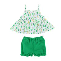 Wholesale infant suspender suits resale online - Newborn Baby Girls Clothes Summer Lovely Infant Girl Sleeveless Suspender Ruffles Green Pepper Print Dress Tops Green Shorts Suits