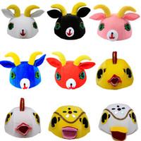 katzenmasken für erwachsene großhandel-JinXuan Kuh Schaf Ziege Maus Katze Ente Huhn Kinder Kinder Erwachsene Tier Kostüm Hut Kopfbedeckung Maske Bühnenshow Party maskottchen
