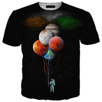 ingrosso camicia a maniche corte-Più nuovo Fashion Space Astronaut Planet Balloon T-Shirt Funny 3D Stampa Donna / Uomo Short Sleeve Summer Unisex T-Shirt Casual Top K55