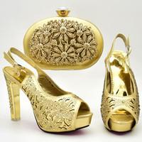 совпадение оптовых-золотые туфли и сумки, чтобы соответствовать женщины свадебные туфли и сумка набор высокого qualiyt горный хрусталь обувь с сумочкой 2018 новый дизайн