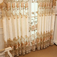 Wholesale pleated curtains drapes resale online - NEW Design Embroidered Curtains For living Room Bedroom Floral Half Shading Curtain Window Treatment drapes Home Decor