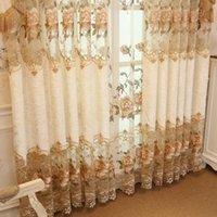 cortinas florais para sala de estar venda por atacado-Novo design cortinas bordados para sala de estar Quarto Floral Metade sombreamento Cortina de janela tratamento drapes Home Decor