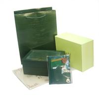 geschenkboxen großhandel-Kostenloser Versand Top Luxusuhr Grün Original Box Papiere Geschenk Uhren Boxen Ledertasche Karte 0,8 KG Für Rolex Uhrenbox