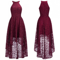 Wholesale real photo occasion dress online - 2019 Cheap Burgundy Halter Lace A Line Evening Dresses High Low Formal Party Prom Dresses Real Image CPS1151
