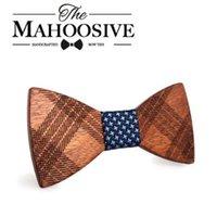 erkek takım elbise kravat toptan satış-Mahoosive Ahşap Bow Kravatlar için Mens Düğün Takımları Ahşap Bow Tie Kelebek Şekil Bowknots Gravatas Slim Cravat